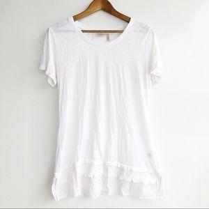 LOGO White Ruffle Hem Cotton Sheer Dress